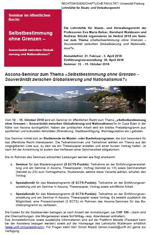Ascona Seminar 2018